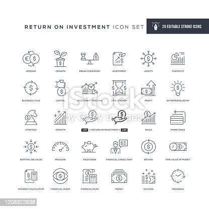 29 Return on Investment Icons - Editable Stroke - Easy to edit and customize - You can easily customize the stroke width