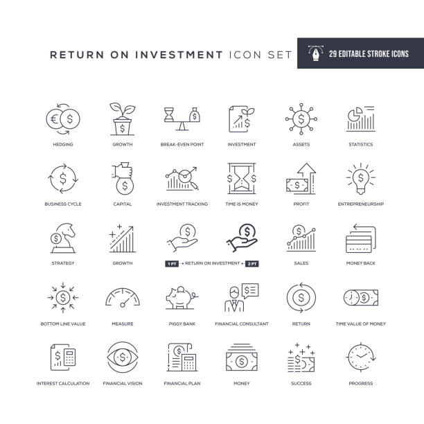 ilustraciones, imágenes clip art, dibujos animados e iconos de stock de retorno de la inversión iconos de línea de trazo editable - inversión