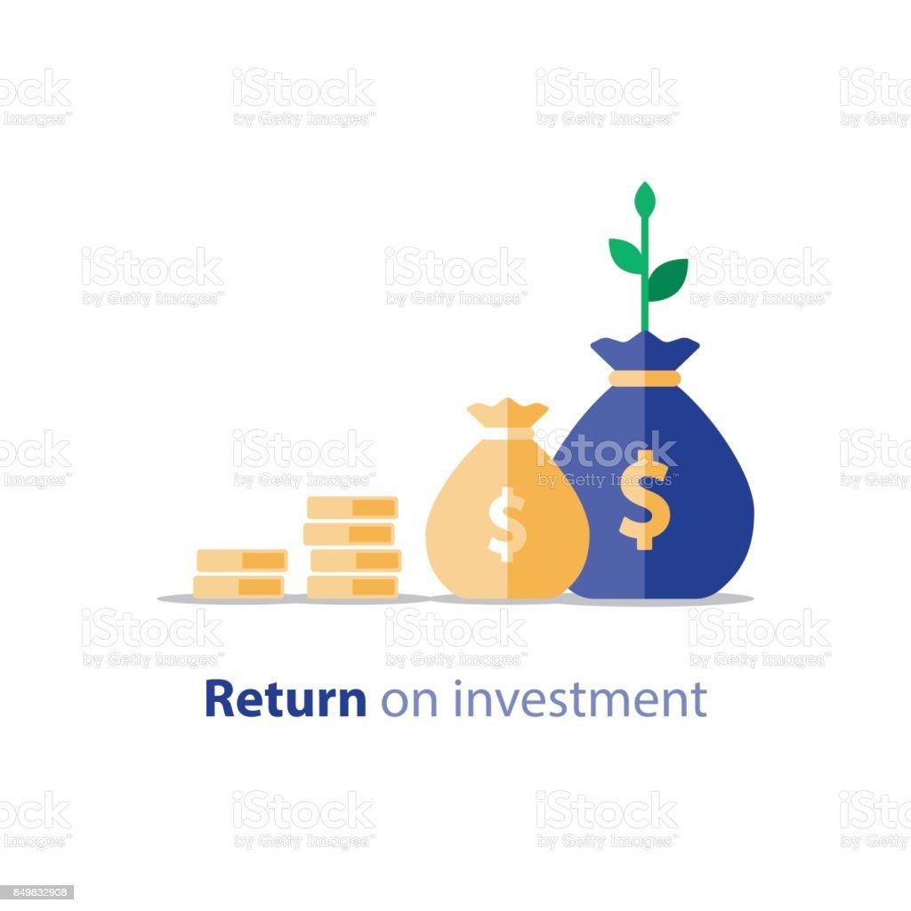 Return on investment, finance consolidation, budget planning, finance statistic vector art illustration