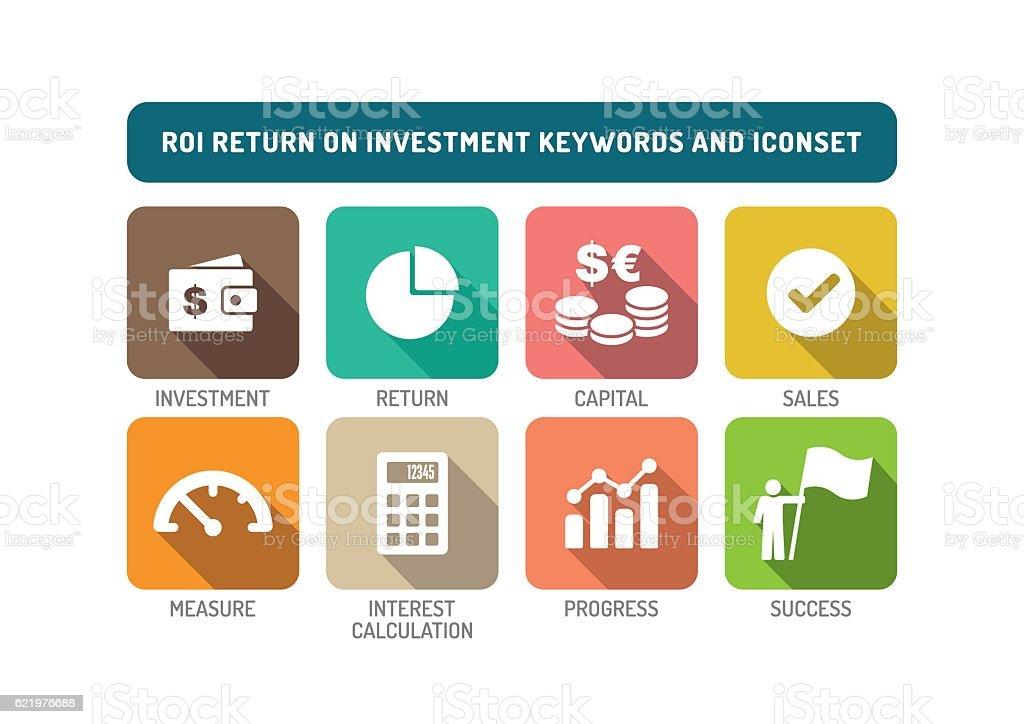 ROI Return on Investment Flat Icon Set vector art illustration