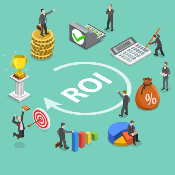 Return on investment flat isometric vector concept Flat isometric vector concept of return on investment, roi, digital marketing, marketing analysis, profit. budget backgrounds stock illustrations