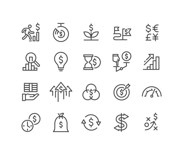 return on investment icons - classic line series - entrepreneurship stock illustrations