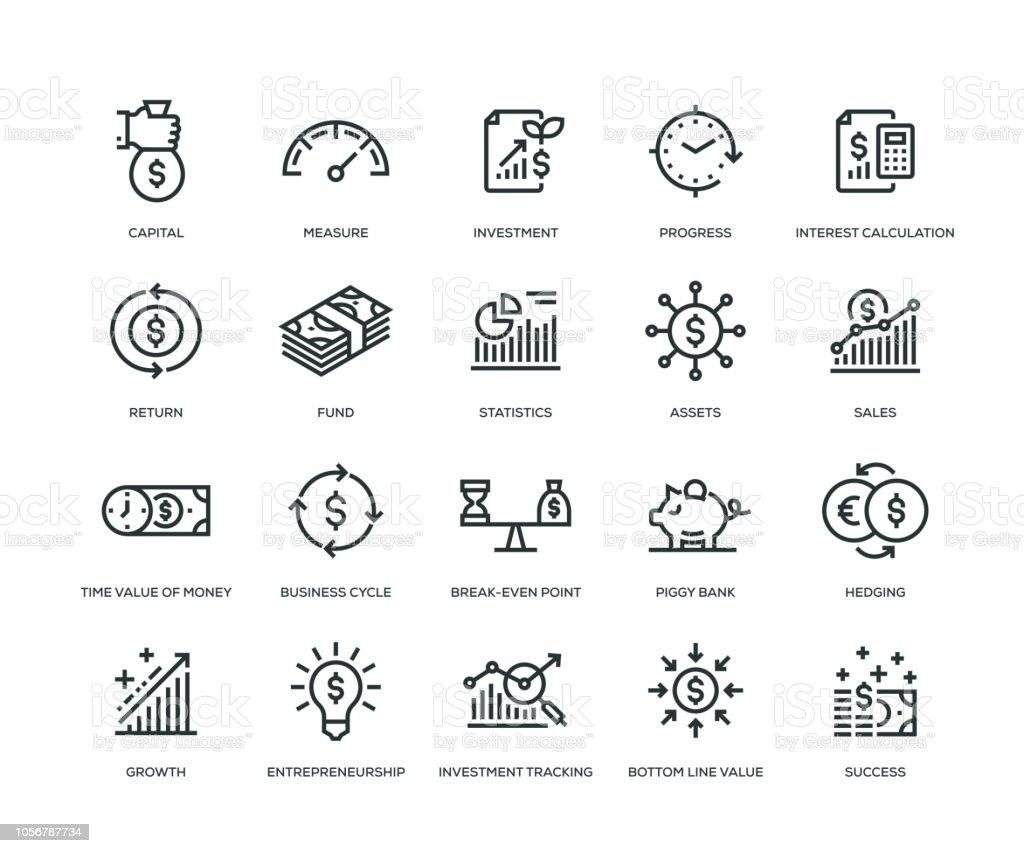 Retorno sobre o investimento ícones - linha série - Vetor de Analisando royalty-free
