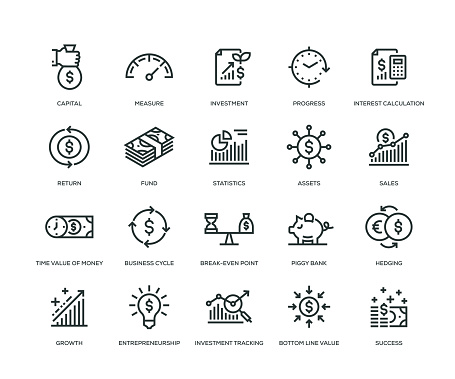 Return on Investment Icons - Line Series clipart