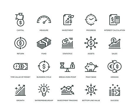 Return On Investment Icons Line Series - Immagini vettoriali stock e altre immagini di Affari finanza e industria
