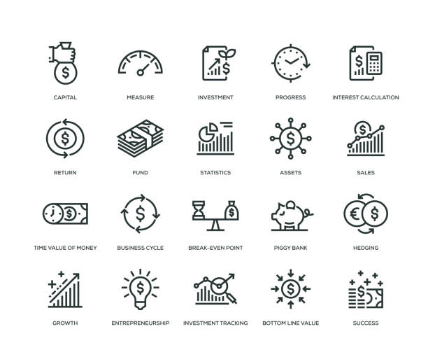 Return on Investment Icons - Line Series Return on Investment Icons - Line Series icon stock illustrations