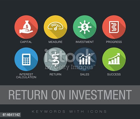 Return on Investment chart with keywords and icons. Flat design with long shadows