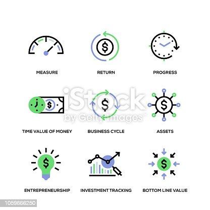 Return On Investment Line Icon Set