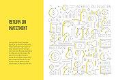 Return on Investment Related Line Design Style Web Banner Vector Illustration
