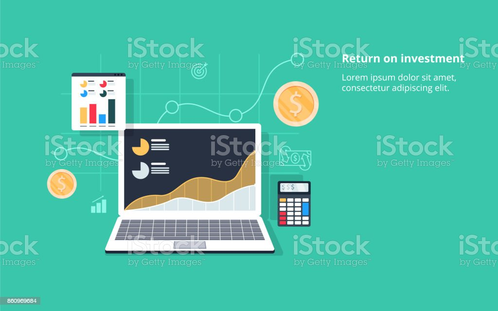 Return on investment, ROI, Business, profit, flat vector conceptual banner illustration with icons vector art illustration