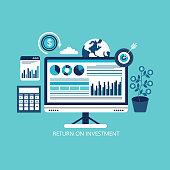 istock Return on investment, ROI, Business, profit, flat vector 1274373911
