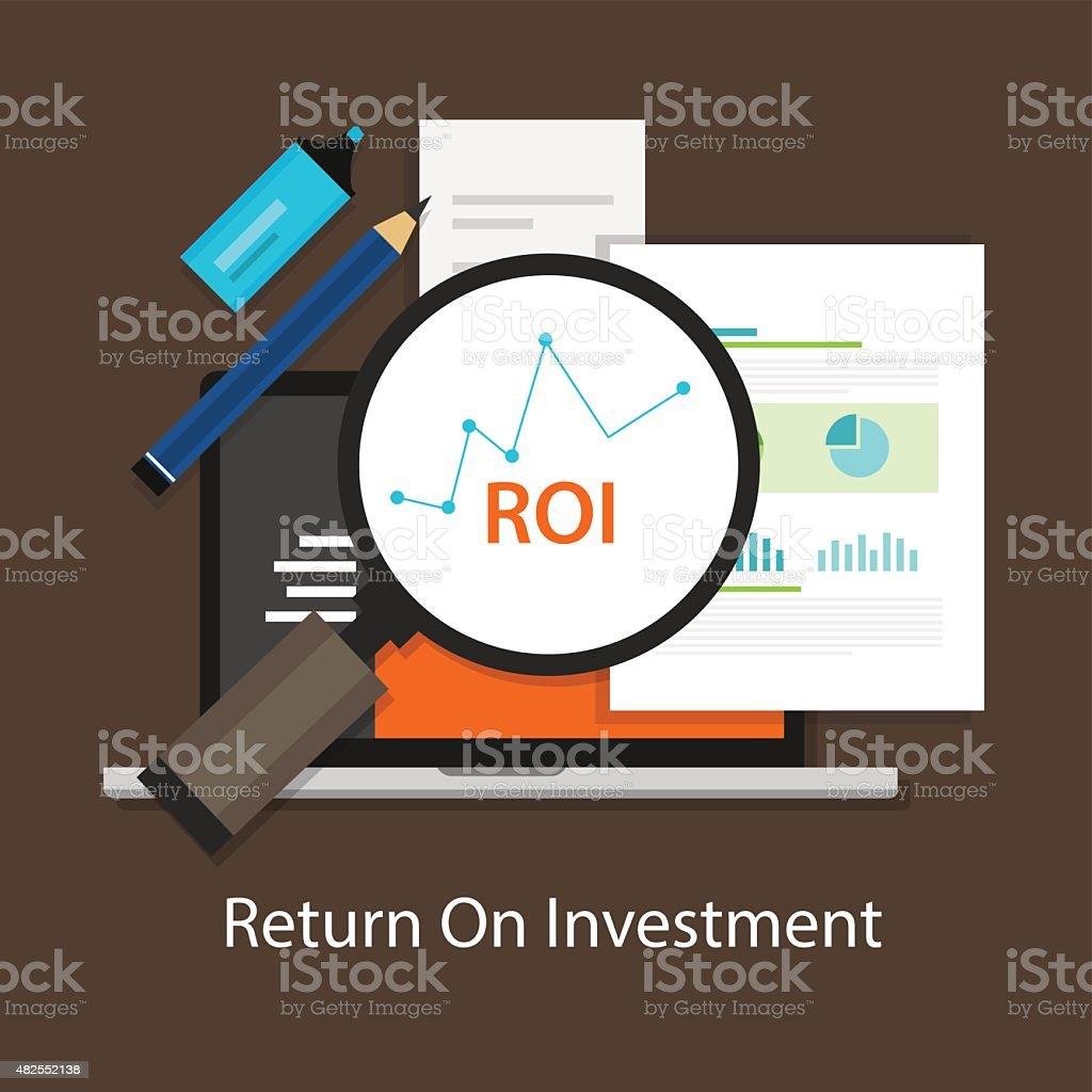 ROI Return on of investment vector art illustration