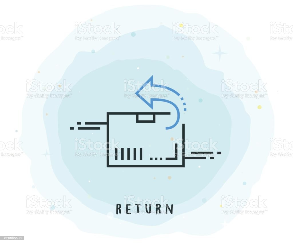 Returned Cargo Icon with Watercolor Patch vector art illustration