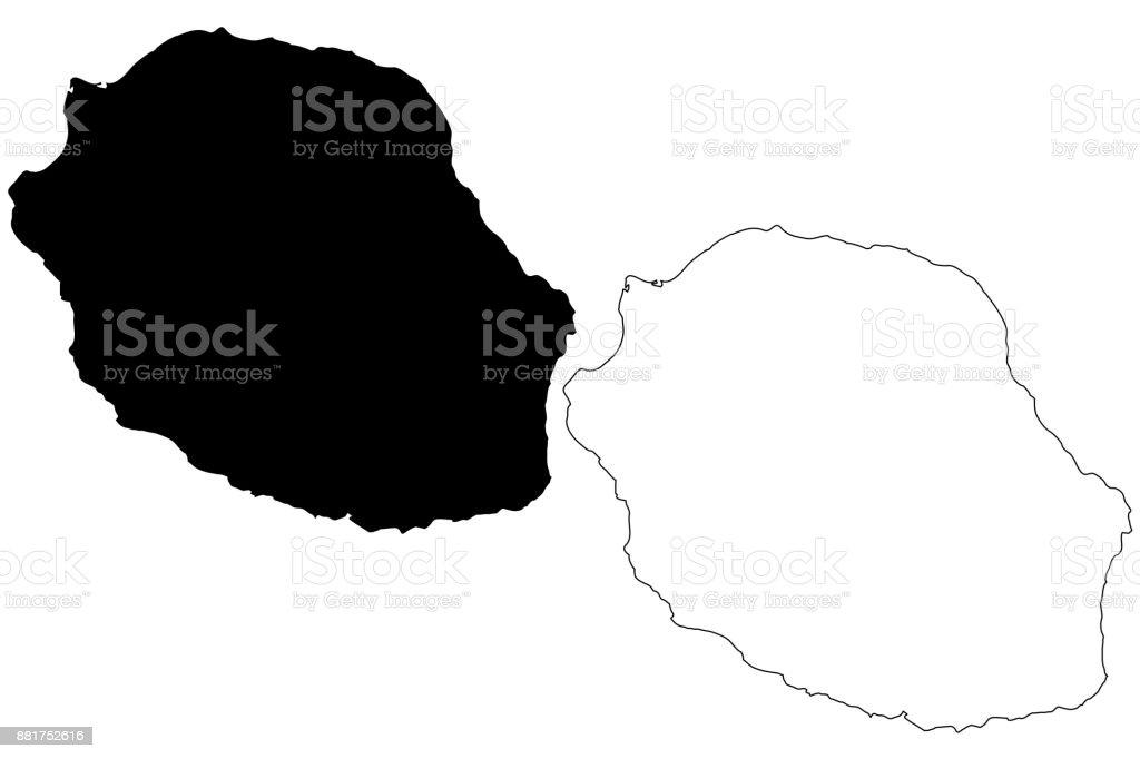 Reunion island map vector vector art illustration