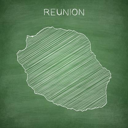 Reunion map drawn on chalkboard - Blackboard