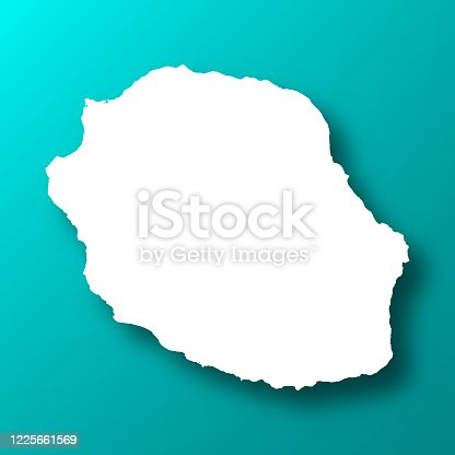 istock Reunion map on Blue Green background with shadow 1225661569