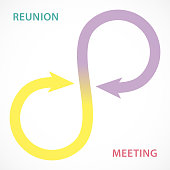 Reunion and meeting concept, two arrows form in a infinity symbol.