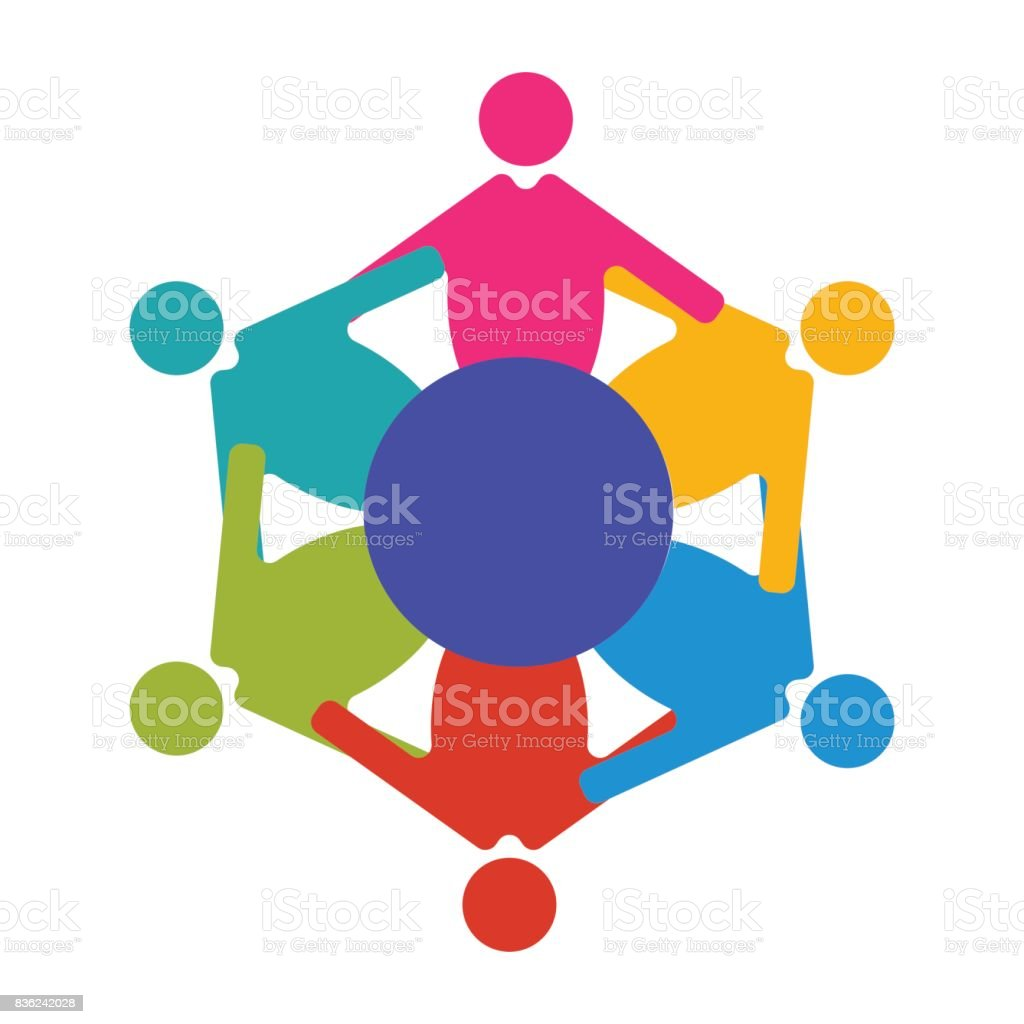 Reunion or Diversity group or community vector illustration. Round table and diverse people teamwork cooperation symbol. Great as cultural and racial diversity solidarity promotion. vector art illustration