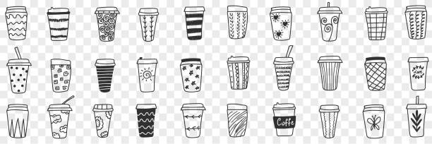Reusable eco friendly glasses doodle set Reusable eco friendly glasses doodle set. Collection of hand drawn glasses and thermos for hot and cold drinks with various patterns eco-friendly cups isolated on transparent background drawing of a glass liquor flask stock illustrations
