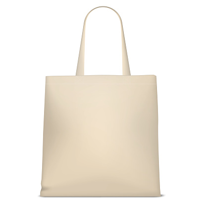 Reusable grocery bag, vector mockup. Blank eco friendly fabric shopping bag with handles isolated on white background