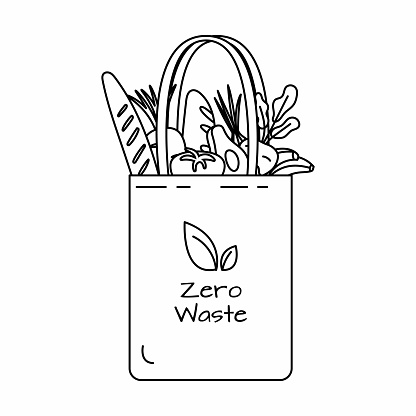 Reusable grocery eco bag with vegetables black outline.
