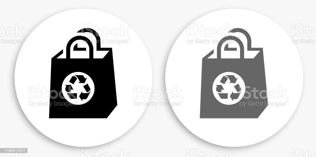 Sac À Provisions Réutilisable Noir Et Blanc Icône Ronde