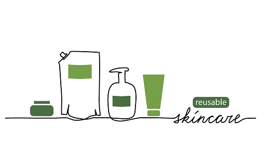 Reusable skincare, eco-friendly skin care cosmetics vector illustration. One line drawing art with bottles, doypack and lettering reusable skincare