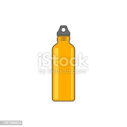 Reusable water bottle vector illustration. Orange metallic sport bottle isolated on white background. No plastic and zero waste illustration.