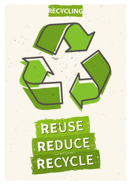 reuse reduce recycle vector illustration - recycling stock illustrations