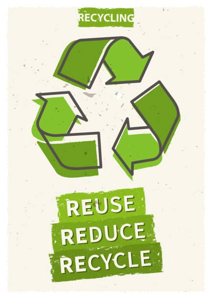 wiederverwendung reduzieren recycling-vektor-illustration - recycling stock-grafiken, -clipart, -cartoons und -symbole