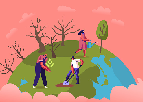 Revegetation, Forest Restoration, Reforestation and Planting Trees. Volunteer Characters Care of Green Plants Watering