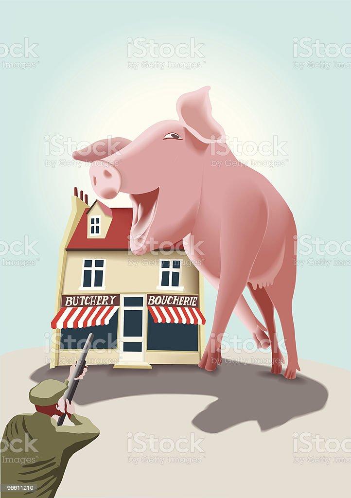 Revenge of the lovely pink meat monster vector art illustration