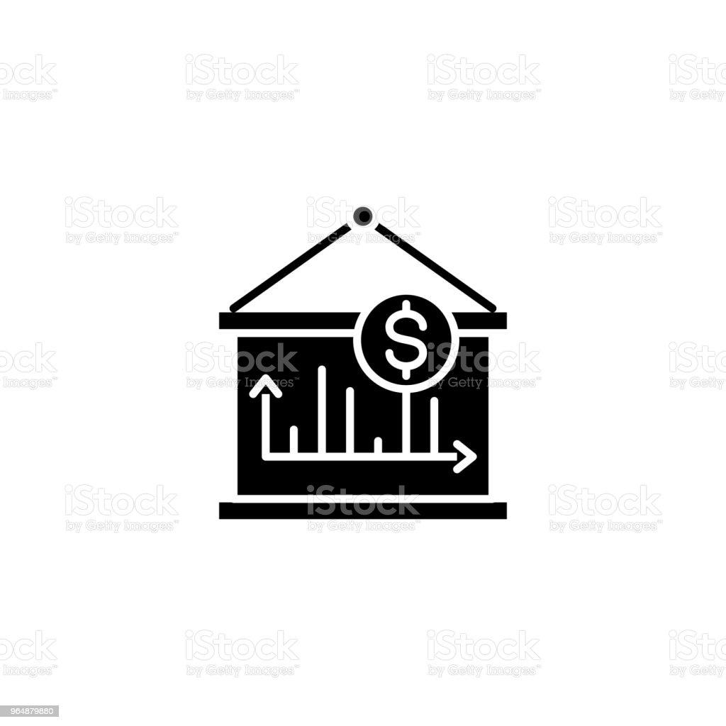 Revenue dynamics black icon concept. Revenue dynamics flat  vector symbol, sign, illustration. royalty-free revenue dynamics black icon concept revenue dynamics flat vector symbol sign illustration stock vector art & more images of advice