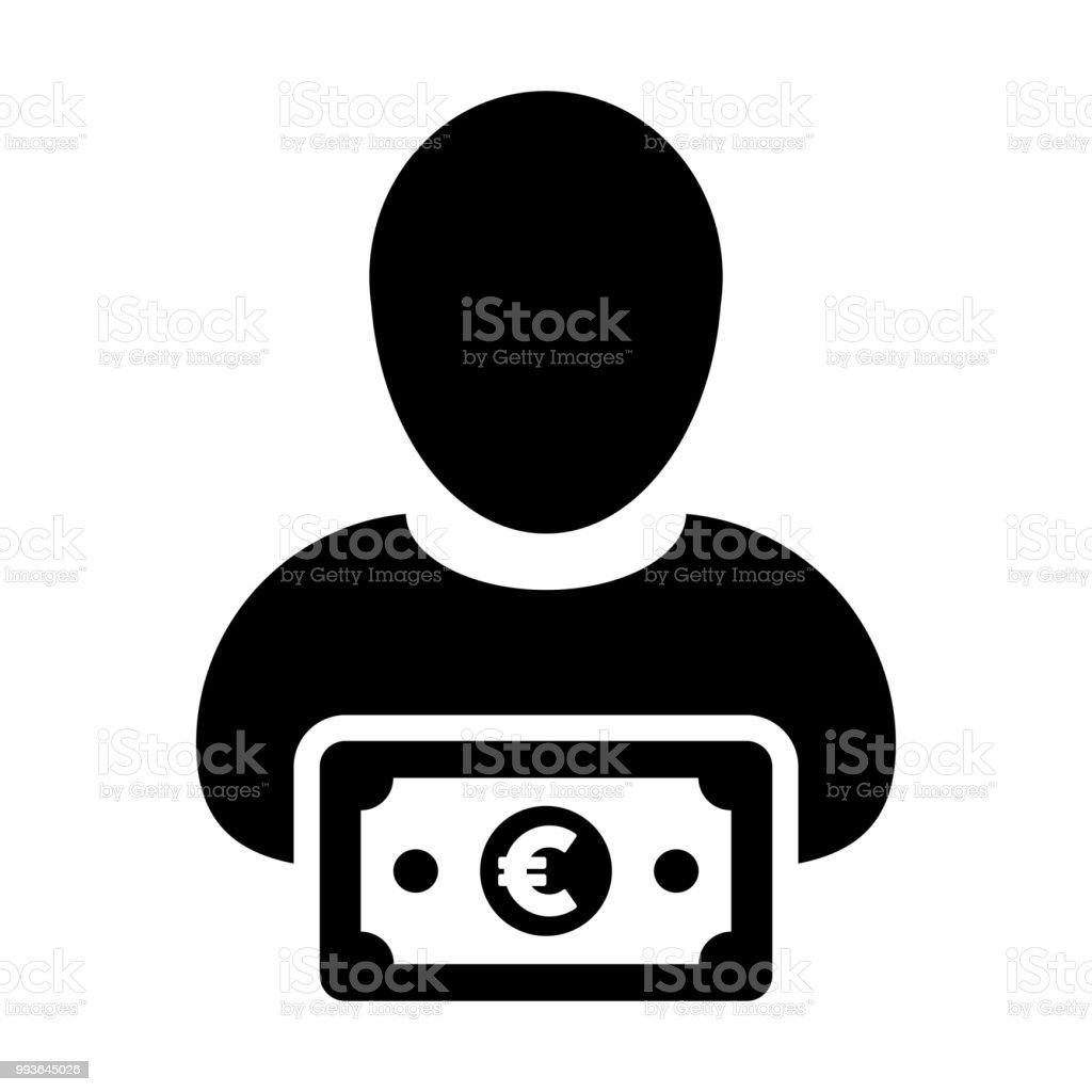 Revenue Icon Vector Male User Person Profile Avatar With Euro Sign