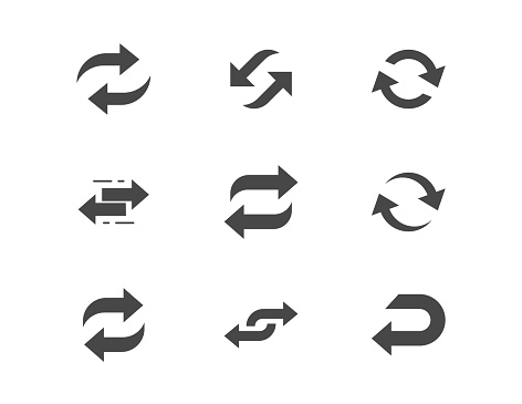 Reverse flat glyph icons. Vector illustration included icon as swap, flip, currency exchange, switch, repeat replace silhouette pictogram of two circle arrows