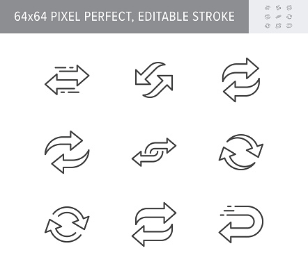 Reverse line icons. Vector illustration included icon as swap, flip, currency exchange, switch, repeat replace outline pictogram of two circle arrows. 64x64 Pixel Perfect Editable Stroke