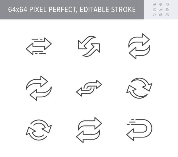 Reverse line icons. Vector illustration included icon as swap, flip, currency exchange, switch, repeat replace outline pictogram of two circle arrows. 64x64 Pixel Perfect Editable Stroke Reverse line icons. Vector illustration included icon as swap, flip, currency exchange, switch, repeat replace outline pictogram of two circle arrows. 64x64 Pixel Perfect Editable Stroke. exchanging stock illustrations