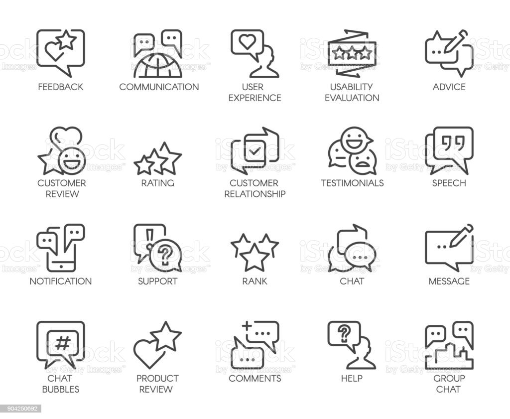 Review line icons. Big set of 20 outline pictograms isolated on white. Comments or message chat bubbles, usability evaluation, communication, rating and other symbols. Graphic signs. Vector labels vector art illustration