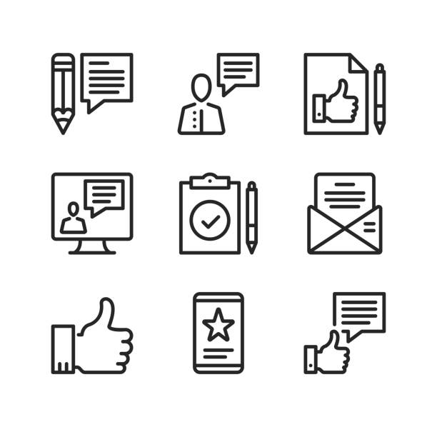 Review line icons. Online survey, thumbs up, client opinion, comments, customer satisfaction concepts. Simple outline symbols, modern linear graphic elements collection. Vector line icons set vector art illustration