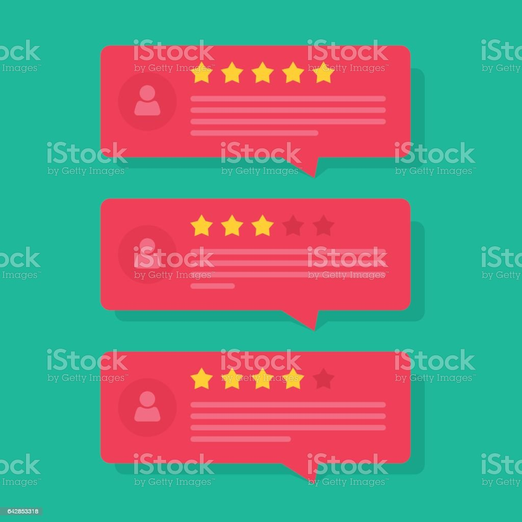 Review rating bubble speeches vector, reviews stars with good and bad rate and tex vector art illustration