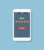 Review Rating, Online survey with bubble speeches on mobile phone. Reviews stars.