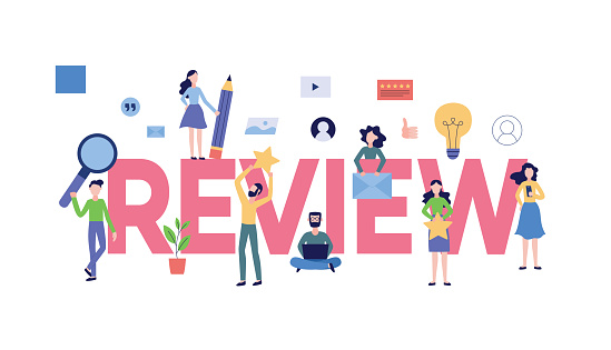 Review Text With Customers Giving Online Feedback Banner Flat Vector  Illustration Stock Illustration - Download Image Now - iStock