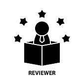 reviewer icon, black vector sign with editable strokes, concept symbol illustration