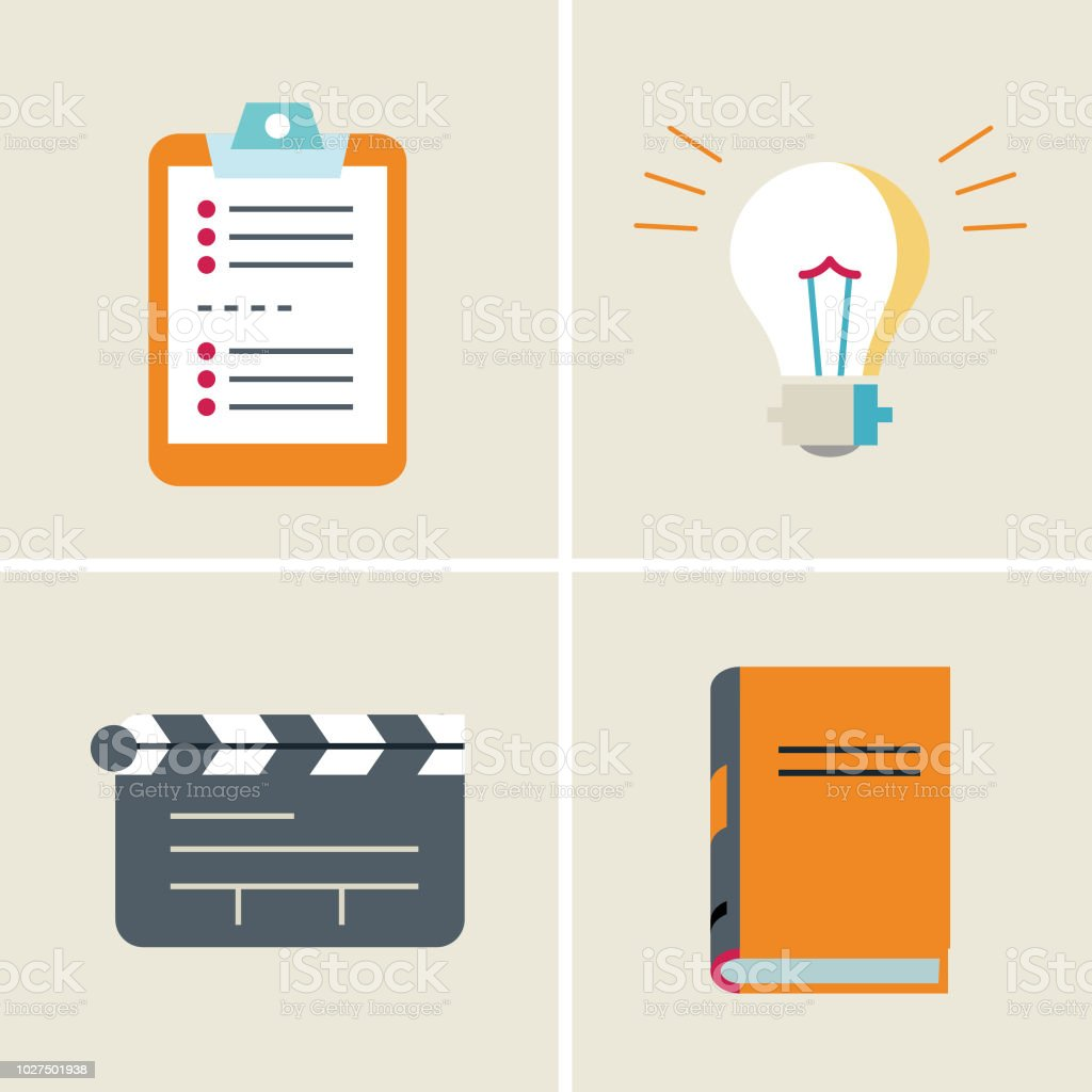 review-idea-action-analytics vector art illustration