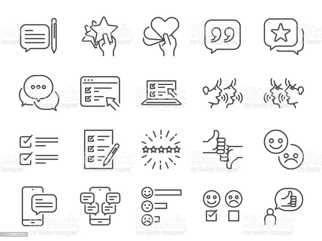 Reviews line icon set. Included icons as review score, feedback, testimonial, comment, survey and more. - arte vettoriale royalty-free di A forma di stella