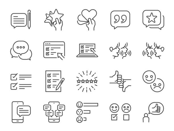 Reviews line icon set. Included icons as review score, feedback, testimonial, comment, survey and more. Reviews line icon set. Included icons as review score, feedback, testimonial, comment, survey and more. survey icon stock illustrations