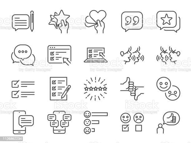 Reviews Line Icon Set Included Icons As Review Score Feedback Testimonial Comment Survey And More — стоковая векторная графика и другие изображения на тему Анкета