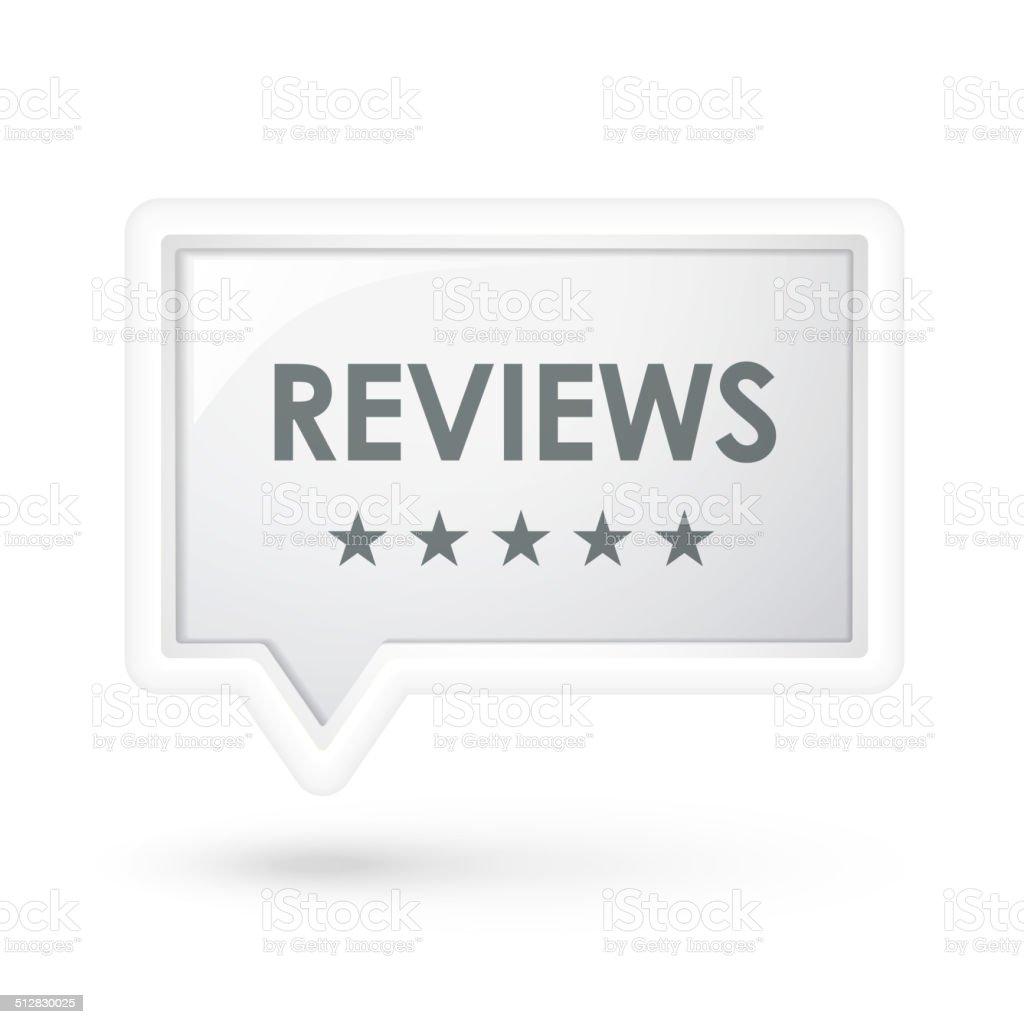 reviews word on a speech bubble vector art illustration