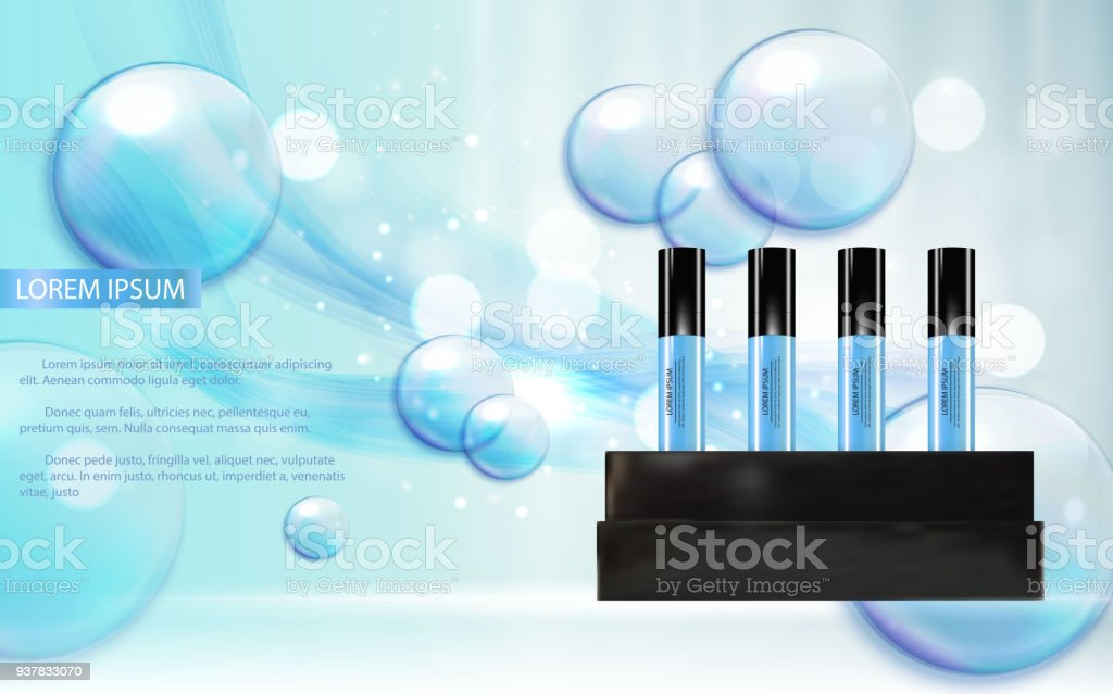 revitalizing serum bottle template for ads or magazine background 3d
