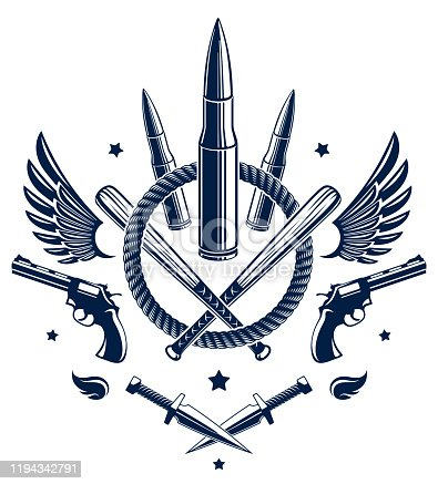 istock Revolution and War vector emblem with bullets and guns, logo or tattoo with lots of different design elements, riot partisan warrior, criminal and anarchist style, social tension theme. 1194342791